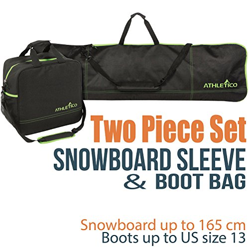 Athletico Two-Piece Snowboard and Boot Bag Combo | Store & Transport Snowboard Up to 165 cm and...