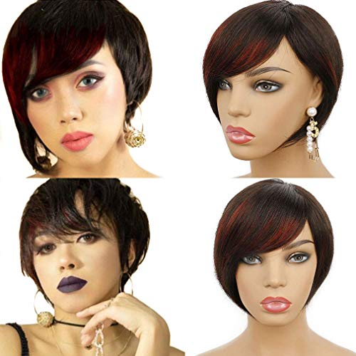 Goldfinch Short Straight Wig Human Hair Pixie Cut Wig with Bangs for Women Layerd Bob Wig Natural Black Highlight Red 6 inches