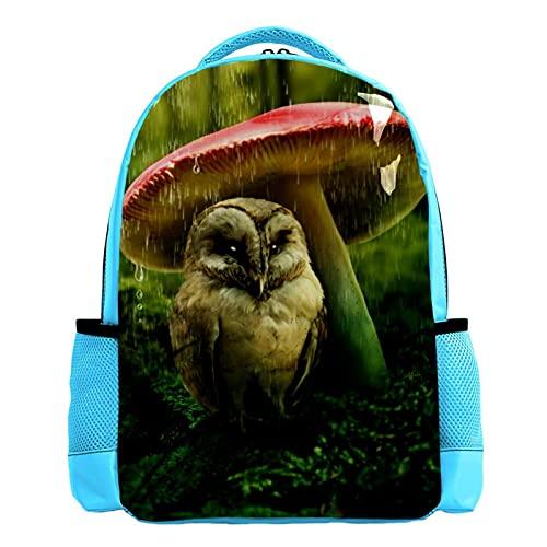 YATELI Mochila ligera para la escuela,Águila sentada bajo la seta , Mochila informal clásica básica resistente al agua para viajes con bolsillos laterales para botellas