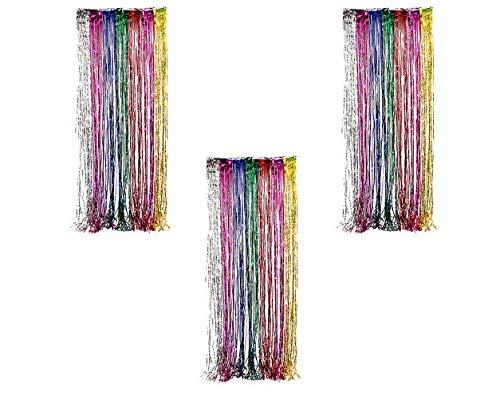 Ifavor123 Decorative Tinsel Foil Metallic Fringe Party Door Window Curtains – 3 Feet Wide X 8 Feet Long (3 Pack, Rainbow)