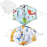 Bageek Protector Antipolvo Transpirable de Algodón con Cubierta Bucal para Niños de 2 Piezas con Almohadillas de Filtro de 40 Piezas