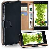 MoEx Premium Book-Hülle Handytasche kompatibel mit Sony Xperia X Compact | Handyhülle mit Kartenfach & Ständer - 360 Grad Schutz Handy Tasche, Schwarz