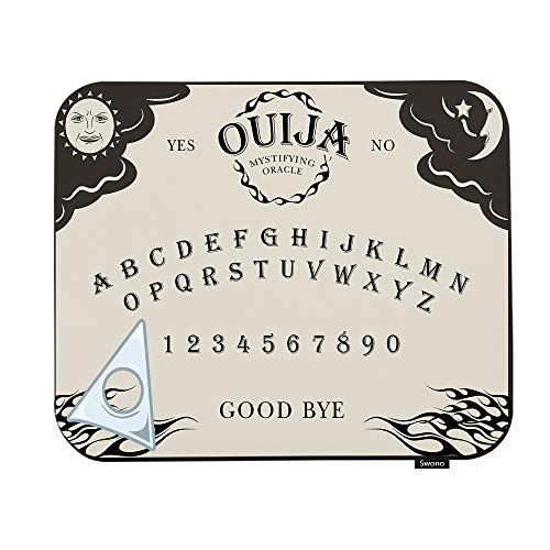 Swono Ouija Board Mouse Pads Letter Number of A Ouija Board Sun Moon Star Spook On The Planchette Mouse Pad for Laptop Funny Non-Slip Gaming Mouse Pad for Office Home Travel Mouse Mat 7.9'X9.5'
