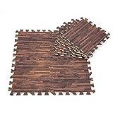 9 Teile 30 x 30 cm Puzzle-Teppich aus EVA-Schaumstoff Holzstruktur in drei Farben Brown Random