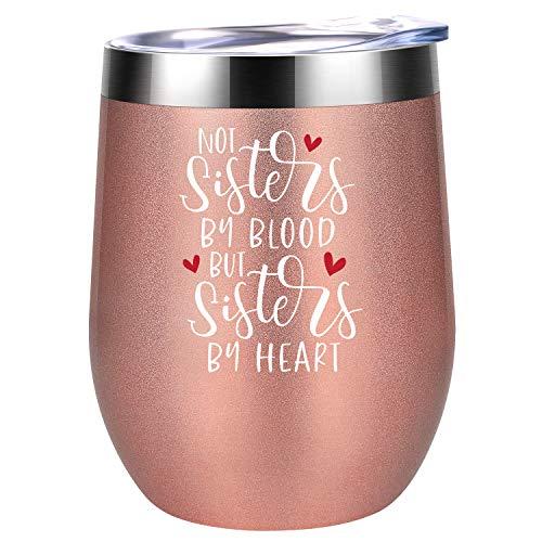 """Coolife Weinbecher mit Aufschrift """"Like Sisters by Heart"""", beste Freundin, Freundschafts-Geschenke für Frauen, Schwägerin, Geschenk für Weihnachten, Geburtstag für Freunde, Frau, BFF, Seelenschwester"""