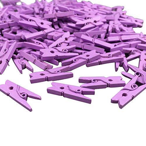 Bluelans® Lot de 100 mini pinces à linge colorées en bois Violet