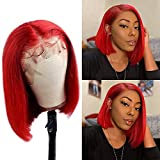 Short Bob Wigs Virgin Human Hair 13x1x4 Lace Front Wigs Bleached Knots Glueless Lace Frontal Wigs with Baby Hair Red Colored Bob Silky Straight 10 inch