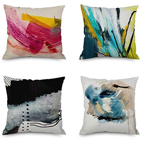 Qwe, 4 federe decorative per cuscino natalizio, in cotone e lino, per casa, divano, ufficio, camera da letto, 45 x 45 cm