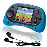 EASEGMER 16 Bit Kids Handheld Games Built-in 200 HD Video Games, 2.5 Inch Portable Game Player with Headphones - Best Travel Electronic Toys Gifts for Toddlers Age 3-10 Years Old Children (Blue)