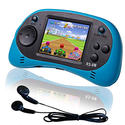 EASEGMER 16 Bit Kids Handheld Games Built-in 200 HD Video Games, 2.5 Inch Portable Game Player with Headphones – Best Travel Electronic Toys Gifts for Toddlers Age 3-10 Years Old Children (Blue)