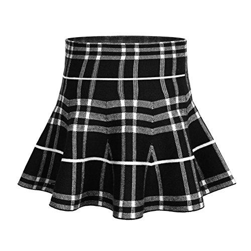 storeofbaby Little Girl's High Waist Plaid Stretchy Pleated Skater Skirt 9-10 Years, Black White