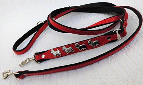 Lusy011 *Westie* HUNDELEINE - Leine - 220cm/13mm, Echt Leder ROT, 3xVerstellbar 1100