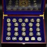 LGFB MLB para los Yankees de Nueva York 27 Piezas de Juego de Anillos de campeón de la Competencia de béisbol 11 tamaño del Anillo Movimiento réplica del Ventilador Recuerdos Mundo con Caja de Madera