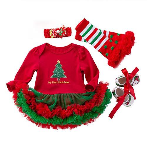 Bambina Natale Costume Completo, 4 PCS Abito + Fasce per Capelli + Leggings + Scarpe Coordinati Bambine Neonata Vestiti Abbigliamento Natale Albero Bimba Abiti Completo Regalo/Rosso, 6-12 Mesi