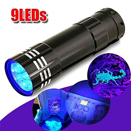 Vvciic Torcia UV, 9 LED Mini Alluminio UV Flashlight Torch Light Stains Rivelatore di Denaro Detector