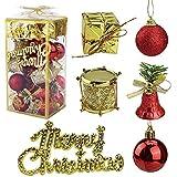 YOUYIKE Adornos de Navidad Decoracion Arboles de Navidad Bolas de Plastico, 32 Piezas en 6 Tipos Incluye Caja de Regalo Balls Bells Drum para Navidad Decoracion (Red)