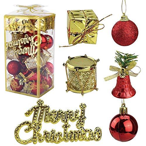 YOUYIKE® Adornos de Navidad Decoracion Arboles de Navidad Bolas de Plastico, 32 Piezas en 6 Tipos Incluye Caja de Regalo Balls Bells Drum para Navidad Decoracion (Red)