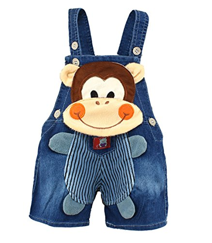 Kidscool Baby Summer Cotton Denim 3D Cartoon Monkey Soft Shorts Overalls, Blue, 12 - 18 Months