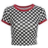 Camiseta a Cuadros Blanca y Negra de Vogue con Cuello en O de Streetwear Camiseta Femenina (Medio)
