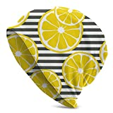 AADEQZ Yellow Fresh Lemon Summer Fruits On Black and White Striped Beanie Hat Caps Winter Knit Cancer Hats for Women Men