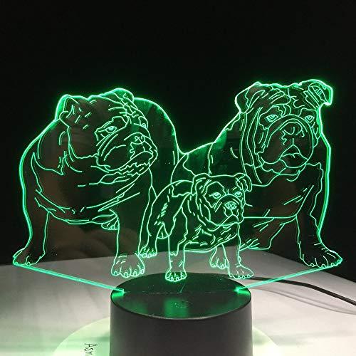 Süßer Mops Hologramm 3d Lampe Nachttischlampe, 7 farben Nachtlicht fürs Kinderzimmer,Schlafzimmer Schreibtischlampe für Kids'Gifts Home Dekoration