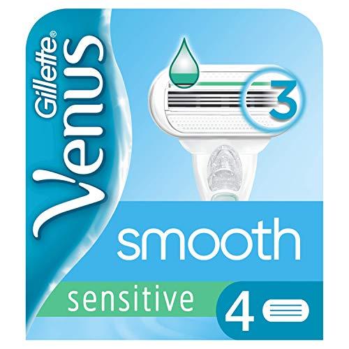Gillette Venus Smooth Sensitive Rasierklingen Damen mit Feuchtigkeitsstreifen für Hautschutz, 4 Ersatzklingen