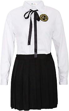 Uniforme de Colegiala Japonesa Camiseta de Manga Larga con Falda Plisada Corbata Traje de Disfraces Cosplay para Mujer Chica - M