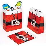 Baker Ross AC167 Geschenktüten mit Weihnachtsmann-Motiv, mittelgroß, 6 Stück, für Weihnachten, Partys, Geschenkpapier und Geschenke für Kinder, rot