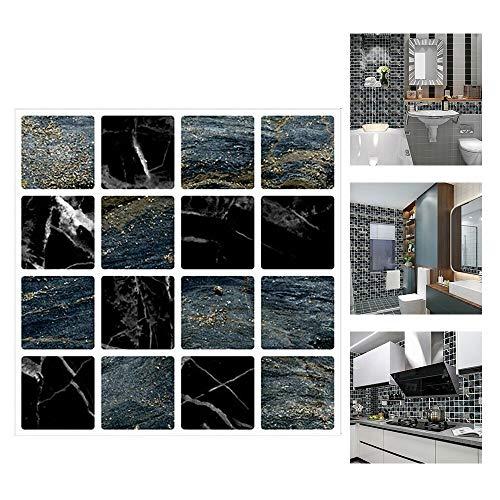 ConBlomi 30 Pezzi Adesivi per Piastrelle, Impermeabile PVC Autoadesivo Decorazione, Adesivi Pavimento in 2D Sottile per Bagno Cucina Parete Fai da Te 10x10cm (MSC067)