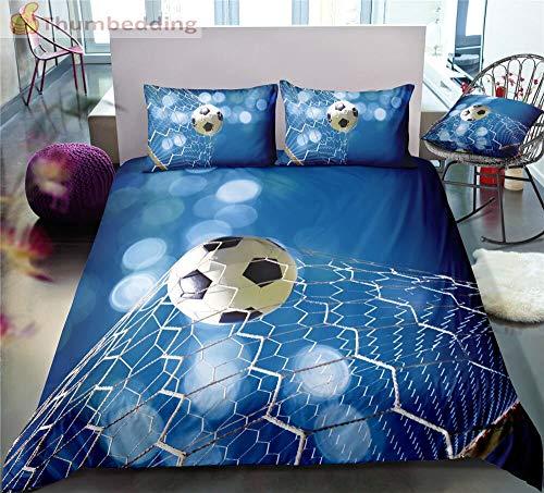 Blue Background Football Bedding Sets Full 3d Sport Duvet Cover Set Designed Bed Set 3pcs 220×240CM G
