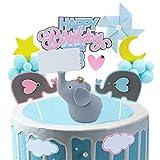 SUNSK Pastel Toppers Elefante Happy Birthday Torta Cumpleaños fiesta Brillantina Decoración Estrella Pastel Azul Cake Topper 15 Piezas