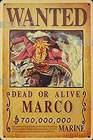 海賊アニメMARCOマルコ さびた錫のサインヴィンテージアルミニウムプラークアートポスター装飾面白い鉄の絵の個性安全標識警告バースクールカフェガレージの寝室に適しています