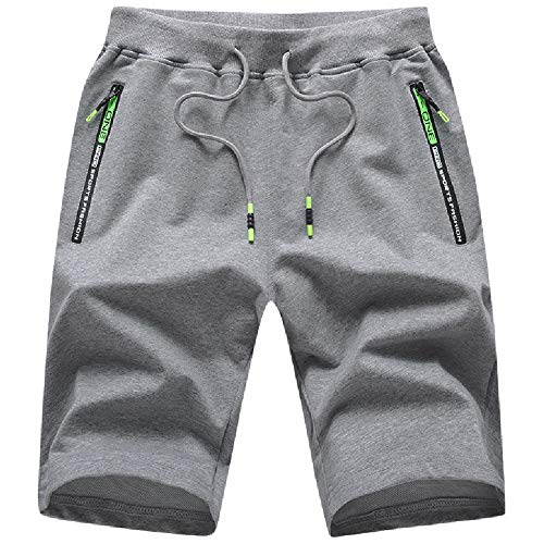 JustSun Kurze Hosen Herren Shorts Sommer Kurze Jogginghose Baumwolle Sweat Sport Shorts mit Reißverschluss Grau L
