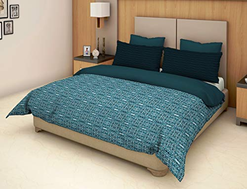 Trident Epitome Blue 1 Double Bedsheet with 2 Pillow Cover Set (TD-E-003)