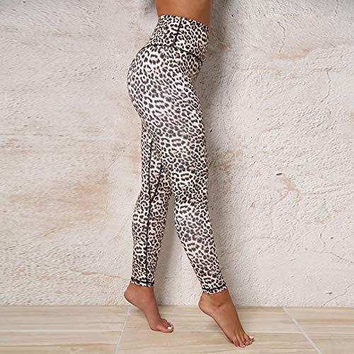 Beiziml Moda Mujer Sexy Deporte Cintura Alta Push Up Leggings Leopardo Impreso...