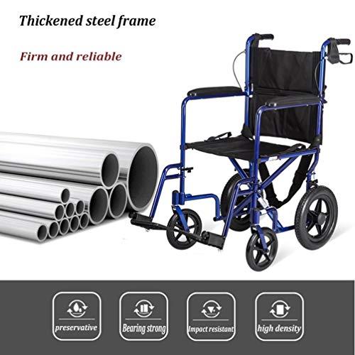 Xink-Wheelchairs Sedia a rotelle in Lega di Alluminio Pieghevole Portable anziana Viaggia Manuale Trolley disabili Attendant Sedia a rotelle Scooter può caricare 140kg (Color : Blue)