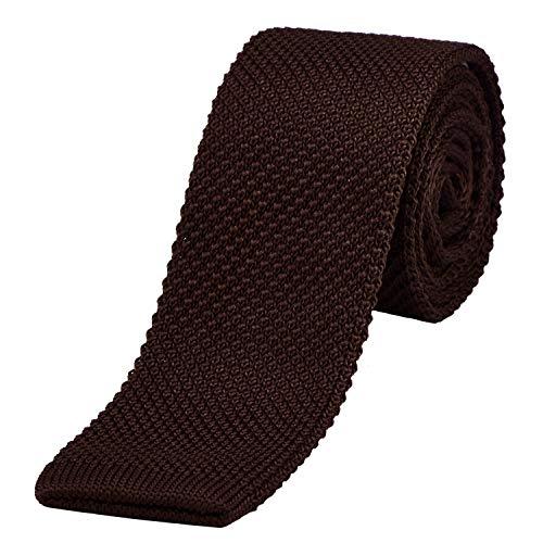 DonDon DonDon schmale Strickkrawatte braun 5 cm