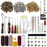 PUDSIRN - Kit de 336 outils pour le travail du cuir avec 303 boutons-pression pour le cuir - Pour percer le cuir, le meulage, la couture, l'estampage, la sculpture