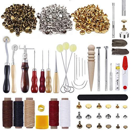 PUDSIRN - Juego de 336 herramientas de trabajo de cuero con 303 cierres de cuero para perforar cuero, perforar a mano, moler, costura, estampar, tallar