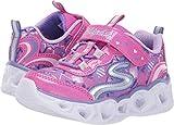 Skechers Kids Girls' Heart Lights Sneaker, neon Pink/Multi, 1 Medium US Little Kid