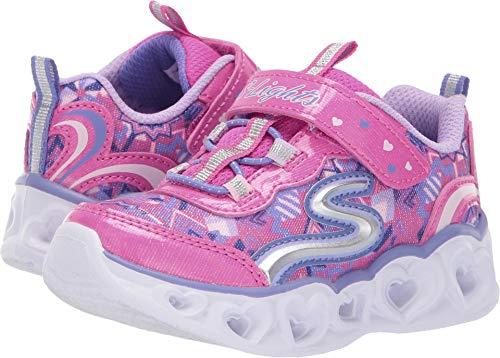 Skechers Heart Lights Mädchen-Sportschuhe, Pink - Neon Pink Multi - Größe: 34 EU