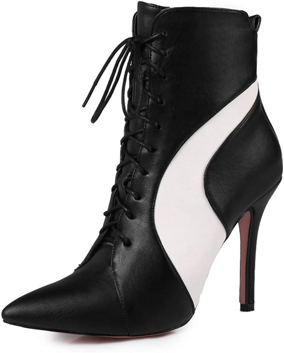 CYBLING Womens Pointed Toe Lace Up High Stiletto Heel Ankle Boots Side Zipper Fashion Booties