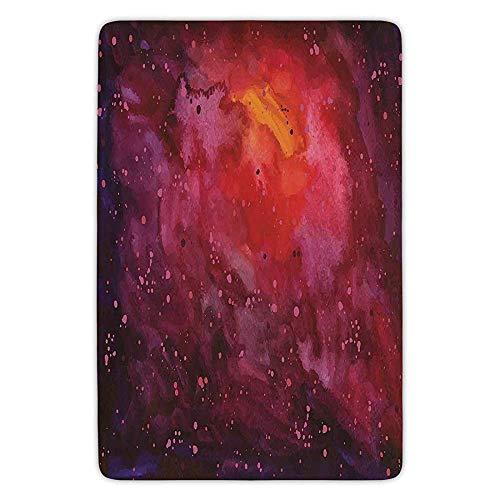 Bathroom Bath Rug Kitchen Floor Mat Carpet,Outer Space,Cosmos Milky Way Galaxy Abstract Stardust in Watercolor Design Decorative,Lavander Orange Mustard,Flannel Microfiber Non-slip Soft Absorbent