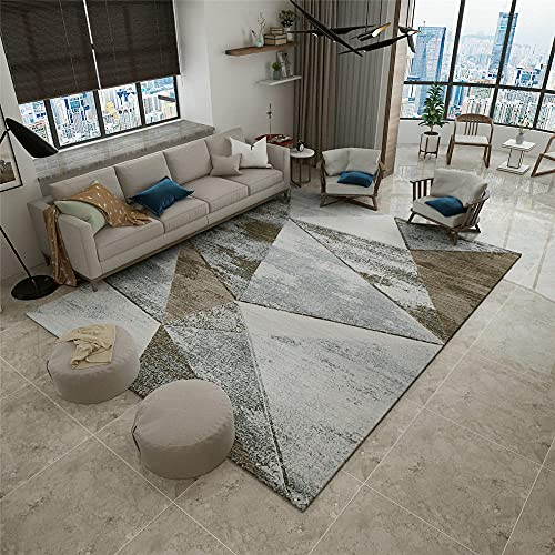 alfombras dormitorio Gris Alfombra de sala de estar gris triángulo borroso vintage antiguo patrón suave alfombra duradera alfombras habitacion bebe 140X200CM alfombras pasillo modernas 4ft 7.1''X6ft 6