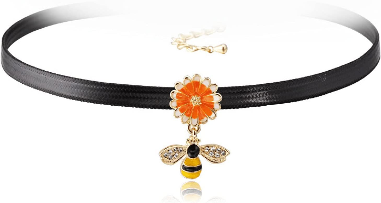 WDBUN Necklace Pendant Simple Decorative Necklace Female Bee Flower Necklace Harajuku Collar Neckband Jewelry Christmas Mother's Day Valentine's Day Birthday Gift