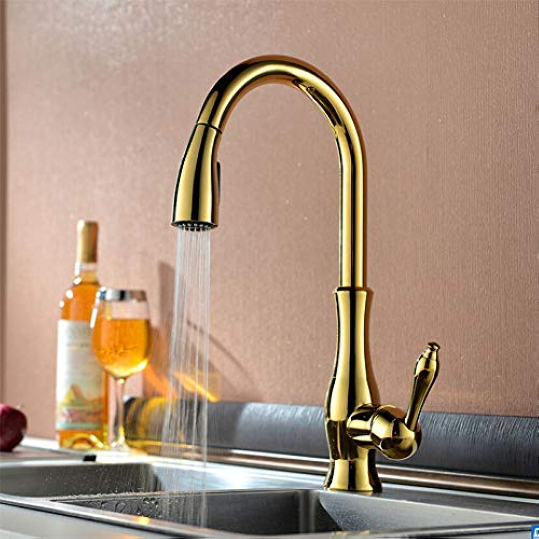 Küchenarmatur YHSGY Küchenarmatur Goldene Messing Küchenwaschbecken Wasserhahn Ausziehbarer Auslauf Spüle Mischbatterie Einhand Deck Montiert Luxus Rotat Wasserhahn