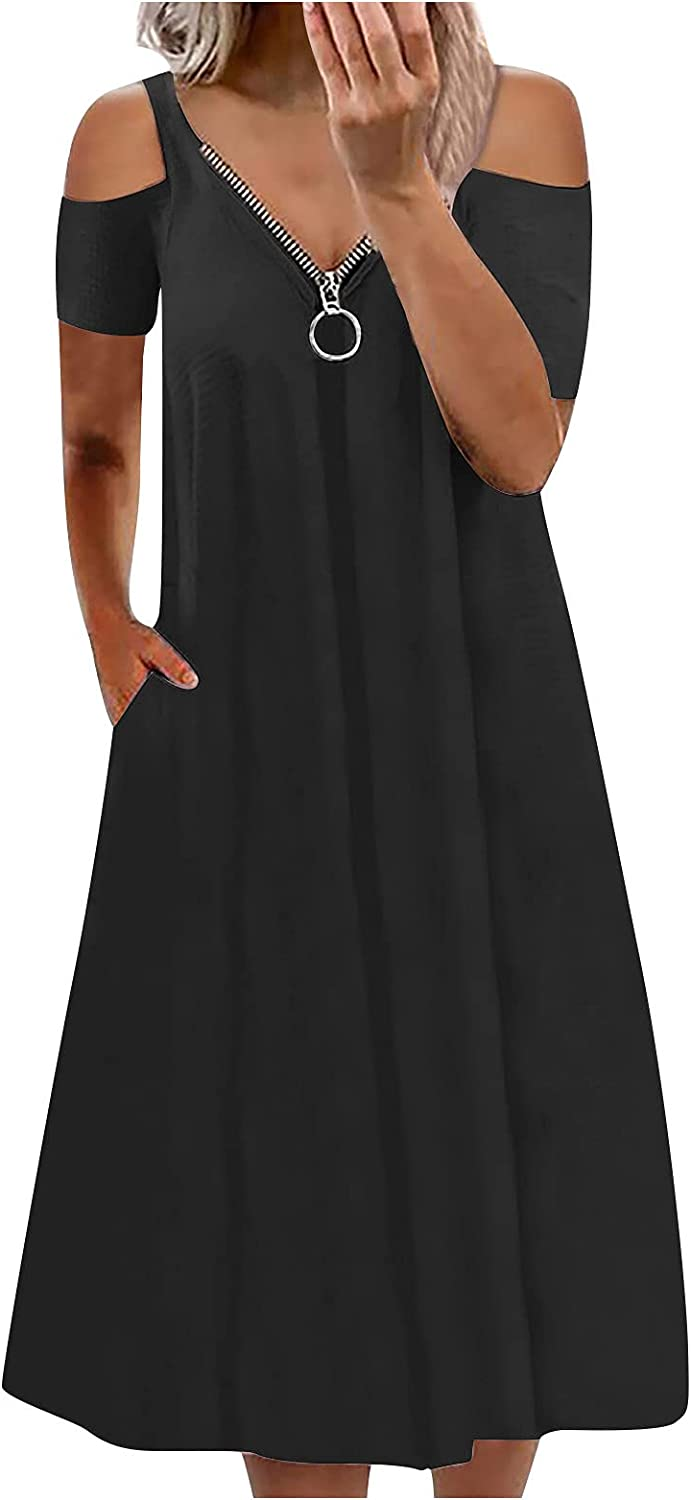 SHOPESSA Women's Summer Dresses with Short Sleeve Shoulder Cheap super Free shipping special price Cold