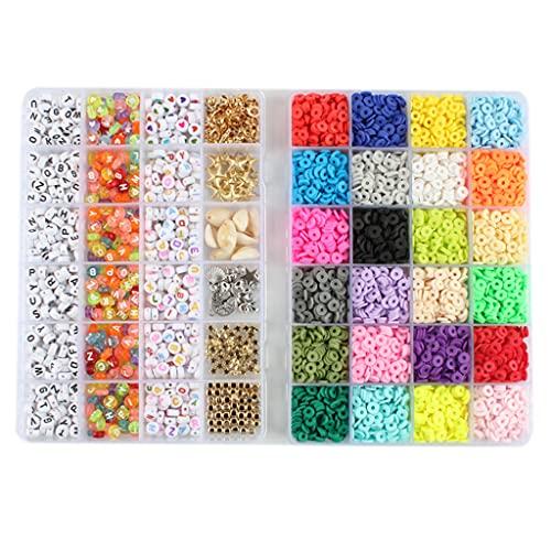 Huhudde Conjunto de pulseiras espaçadoras de argila, colares, brincos, kit de artesanato com pingentes, pulseiras de 6 mm