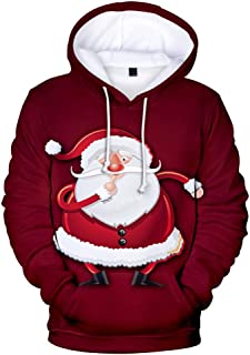 Men's Casual Christmas 3D Print Tops Long Sleeve Hooded Sweater Jacket Coat