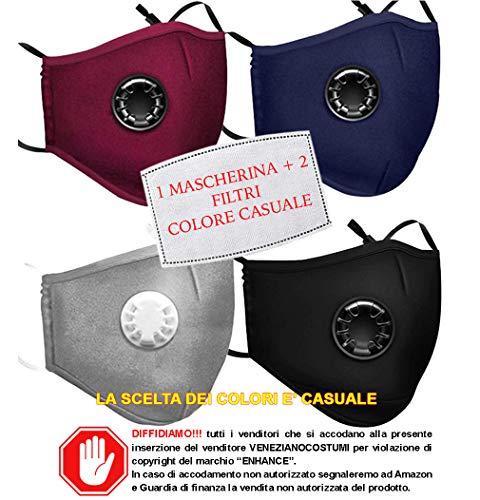 VENEZIANO Mascherine protettive con Filtro Removibile Misura Adulto da Italia 24-48 Ore, Mascherina Morbida Antipolvere 5 Strati ai Carboni Attivi Marchio Enhance (1 Mascherina + 2 Filtri)